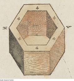 Original image description from the Deutsche Fotothek  Architektur & Geometrie & Hexagon  AuthorWalther Hermann Ryff  ArtistPetrejus, Johann (Drucker)  Date1547