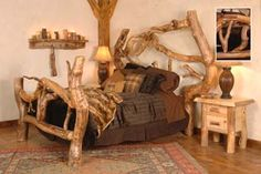 OMG I WANT THIS BED ! We carry this Wasatch Log Furniture - Crazy Horse Aspen Log Bed, and other fine American-made rustic furniture and décor. Browse our rustic furniture catalogs now. Free Delivery to 48 states. Log Bedroom Furniture, Rustic Log Furniture, Wood Bedroom, Wood Furniture, Furniture Ideas, Weird Beds, Creative Beds, Horse Bedding, Tree Bed