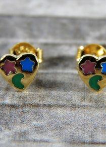 Aros con un corazon y dos estrellas Cufflinks, Stud Earrings, Accessories, Jewelry, Stars, Gold, Hearts, Jewelery, Jewellery Making