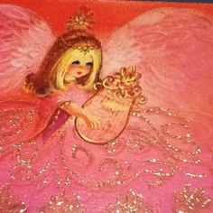 Vintage Christmas Greeting Card Pretty Angel With Glittered Pink Dress & Harp