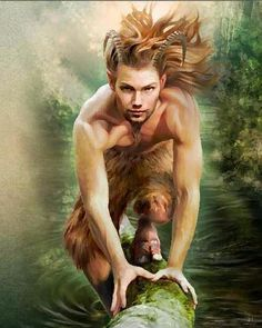 A wild Satyr or Faun. Generally when depicted as still youthful and innocent, goat-men are referred to as Fauns. (Greek God Pan) Fathoms Between Greek And Roman Mythology, Greek Gods And Goddesses, Pan Greek Mythology, Magical Creatures, Fantasy Creatures, Wicca, Magick, Fantasy World, Fantasy Art