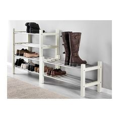 "TJUSIG Shoe rack - white - IKEA; $20 - 31 1/8"" would fit under hangers - but only if we don't get a bench facing the door"