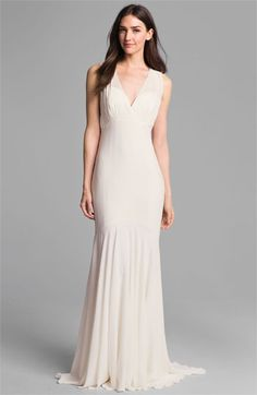 Nicole Miller 'Amanda' Silk Chiffon Trumpet Gown available at #Nordstrom  Understated, simple