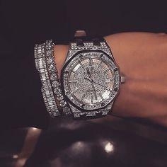 Diamond watch and diamond bracelets Walmart Jewelry, Diamond Bracelets, Ring Verlobung, Beautiful Watches, Diamond Are A Girls Best Friend, Luxury Jewelry, Luxury Watches, Bracelet Watch, Bangle Bracelet