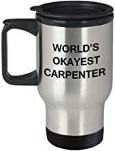 Funny Mug - World's Okayest Carpenter - Porcelain Funny Travel Mug & Coffee Cup Gifts 14 OZ - Funny Inspirational and Sarc...