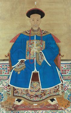 CIVIL OFFICIAL OF THE SIXTH RANK IN WINTER DRESS - China - Qing dynasty - 18th century Ink and colour on silk - Cm 160x95 (63'' by 37,5'')