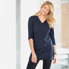 Knit's so easy! Introducing your new favorite sweater. This gorgeous navy v-neck makes any outfit look effortlessly chic. Style over the 2-Pack Wardrobe Basic Legging for a comfortable, stylish look. Comes in women/misses-Regularly $24.99 shop Avon online fashion at www.youravon.com/my1724 spend $50 and get free shipping and 20% off use coupon code: WELCOME #AVON #FASHION #WOMEN