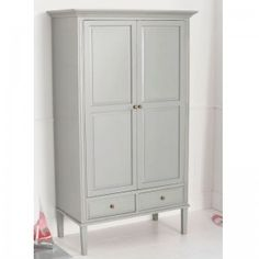 Archie 2 Door Childrens Wardrobe in Cool Grey. Other colours available. See our website for more details. Childrens Wardrobes, Big Bedrooms, 2 Door Wardrobe, White Rooms, Little Girl Rooms, Kid Spaces, Archie, Bedroom Furniture, Tall Cabinet Storage