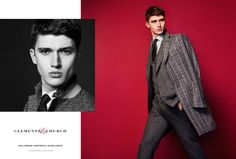 Embracing shades of grey, Matthew Holt is pictured in a windowpane print overcoat.