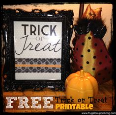 FREE Halloween Printable - Download this FREEBIE, a Trick or Treat Sign. Great for Spooky October Display. Detail and FREE Stuff on Frugal Coupon Living.