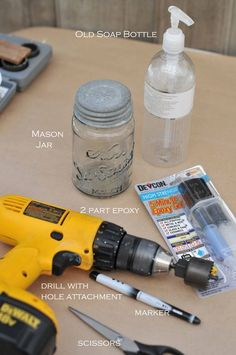 DIY Gift Idea! Mason Jar Liquid Soap container. Make one for yourself or gift them away ~ Mjar2