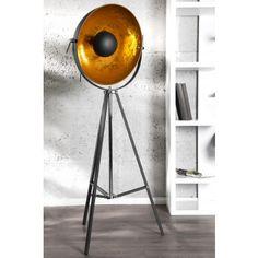 Lampadaire design spot coloris noir et or