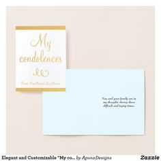 """Shop Elegant and Customizable """"My condolences"""" Card created by AponxDesigns. Paper Envelopes, White Envelopes, Condolences Card, Colored Paper, First Names, Gold Foil, Place Card Holders, Elegant, Silver"""