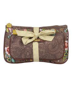 Look at this #zulilyfind! Tobacco French Flowers Bow Tie Cosmetic Bag & Pocket Mirror #zulilyfinds