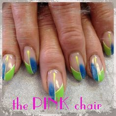 These colours were requested by the clients grand kids. Light Elegance gel paints in neons super cute