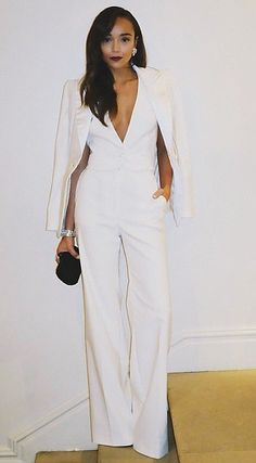 Pin for Later: 22 Winter-White Outfits You Haven't Considered Yet Throw Your White Blazer Over a White Jumpsuit For a Fancy Party Winter Office Outfit, Office Outfits, Night Outfits, Chic Outfits, Winter Outfits, All White Party Outfits, All White Outfit, Formal Outfits, British Fashion Awards