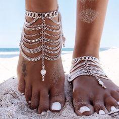 GypsyLovinLight:Luna Anklet - Silver - GypsyLovinLight
