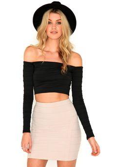 Adiva Bandage Bardot Crop Top In Black