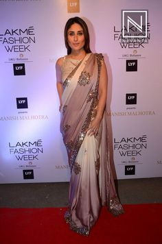 #KareenaKapoor made a stunning appearance in a pretty sari with a blingy blouse at #LakmeFashionWeek #SummerResort2016