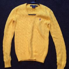 NWOT women's Polo cable knit sweater Brand new. Perfect condition. Size small.  Pretty bright yellow color! Polo by Ralph Lauren Sweaters V-Necks