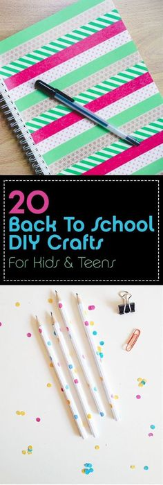 Back to school DIY crafts for kids and teens - 20 good ideas . Back to school DIY crafts for kids and teens – 20 good ideas … School Supplies Organization, Diy School Supplies, Arts And Crafts For Teens, Diy Crafts For Kids, Craft Kids, Family Crafts, Office Inspiration, Style Inspiration, Colegio Ideas