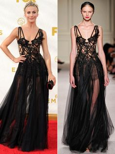 Julianne Hough at the Emmys and the same dress at the Marchesa show