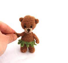 $33.86 bear with leaf-skirt, crochet tiny #bear, teddy bear #figurine, #smallgift for girls, miniature teddy, artist teddy bear