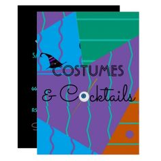 Costumes and Cocktails Halloween Party Invitation - modern gifts cyo gift ideas personalize