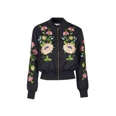 Floral Embroidered Bomber Jacket by Glamorous ($86) ❤ liked on Polyvore featuring outerwear, jackets, black, flight jacket, blouson jacket, flight bomber jacket, pocket jacket and topshop jackets