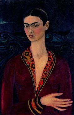 -Frida Kahlo- self-portrait to the velvet dress'   (So she painted this first table to her fiancé Alejandro Gómez Arias, who had left. 1926)