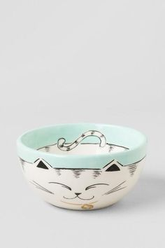 Ceramic Hand Painted Cat Bowl - this light blue ceramic bowl is purr-fect to display your favorite trinkets.
