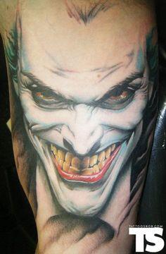 20 Coolest Comic Book Inspired Tattoos - 19. The Joker - Tattoo by Paul Marino Raw Power Tattoo