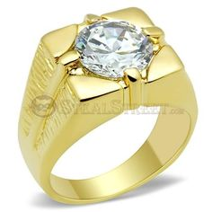 Size 10 Men's Clear Round Cut Solitaire Cubic Zirconia Brass Ring