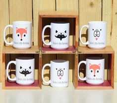 Woodland Creatures Mugs Fox Owl Raccoon Personalized Kids Party Favors