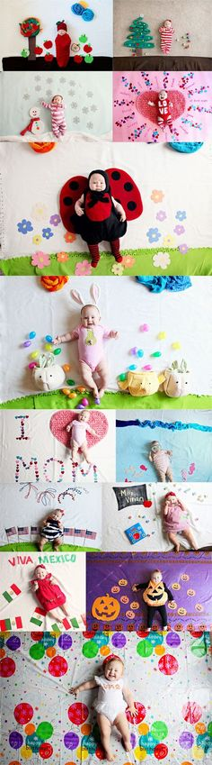 This photographer has the BEST ideas for the 1st year photos. Make a calendar with monthly baby pics!