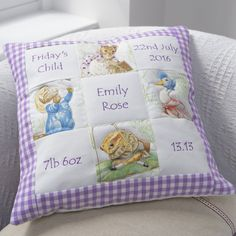 This gorgeous handmade cushion features four adorable Beatrix Potter characters. Embroidered with names and birth details, this is an amazing keepsake for a newborn baby and will look wonderful in any child's nursery or bedroom. Quilt Baby, Baby Patchwork Quilt, Patchwork Cushion, Baby Girl Quilts, Girls Quilts, Baby Memory Quilt, Kid Quilts, Handmade Baby Gifts, New Baby Gifts