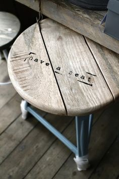 """Stool - have a seat stamp {write scripture: Mark 6:31} Then, because so many people were coming and going that they did not even have a chance to eat, he said to them, """"Come with me by yourselves to a quiet place and get some rest."""""""