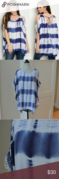 Open Cold Shoulder tie dye top tunic kimono sleeve Sorry, NO TRADES  Price firm unless bundled   Save money and bundle!  Save 10 percent on any bundle of 2 or more items! Sofi + Sebastien  Tops