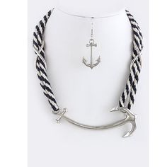 "Anchor set ROPE NECKLACE SET WITH ENLARGE ANCHOR ORNATE • Approx. 18"" length • Lobster claw clasp with 3"" extender • Lead/Nickel compliant  Earrings • Drop Approx. 1.25"" • Fish hook Jewelry Necklaces"