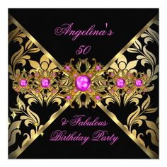 ZIZZAGO DESIGN Fabulous Hot Pink Gold Black Damask