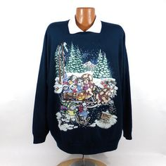 Ugly Christmas Sweater Vintage Sweatshirt Cats Dogs Scene Party Xmas Tacky Holiday 2X Plus size