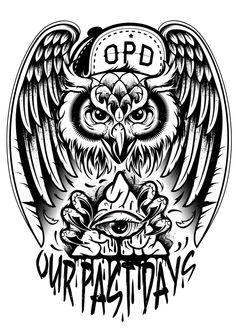 Our Past Days - Band merch by Krysten Newby, via Behance Band Merch, Tattoo Sleeve Designs, Sleeve Tattoos, Eagle Tattoos, Raven Tattoo, Custom Screen Printing, Samurai Tattoo, Tribal Art, Tattoo Studio