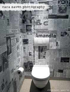 Toilet wallpaper made out of old newspaper clippings! Toilet wallpaper made out of old Wc Design, Toilet Design, Toilet Wall, Toilet Room, Newspaper Wallpaper, Deco Restaurant, Garden Tool Storage, Downstairs Toilet, Small Toilet
