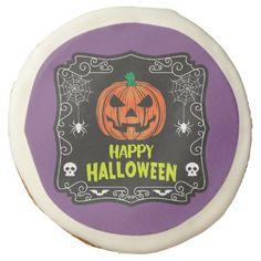 Happy Halloween Jack o Lantern Sugar Cookie - halloween decor diy cyo personalize unique party