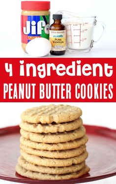 Peanut Butter Cookies Easy Recipe! 4 Ingredients is all it takes to make the BEST cookie ever! Yes... there's no flour, and yes... they're INCREDIBLE! Go grab the recipe and give them a try this week! 4 Ingredient Desserts, 4 Ingredient Cookies, Delicious Cookie Recipes, Best Cookie Recipes, Baking Recipes, Fun Desserts, Christmas Desserts, Christmas Recipes, Christmas Cookies