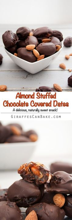 Almond Stuffed Chocolate Covered Dates - sweet, chewy dates stuffed with cinnamon roasted almonds and smothered in rich, dark chocolate. So easy to make and they make the most delicious sweet, healthier snack. You'll LOVE them!