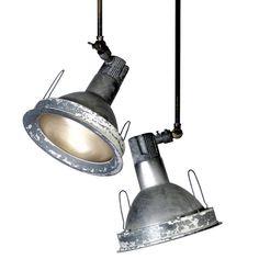 #LIGHTING #INDUSTRIAL #PENDANTS Pair of Articulated Aluminum Spot Lights
