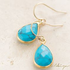 Turquoise Faceted Tear Drop Earrings, Blue Gold Pear Shape Earrings, Turquoise Gemstone Drop Earrings, Natural Turquoise Earrings
