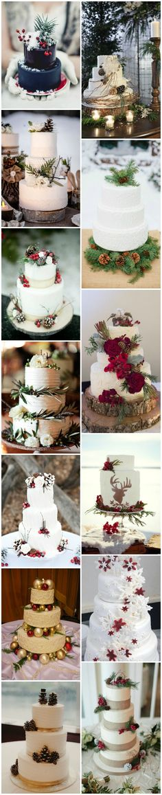 Winter Christmas Inspired Wedding Cakes