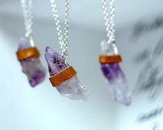 Each is unique, so each bridesmaid could get one of these.  Raw Amethyst necklace- Raw crystal Leather Wrap